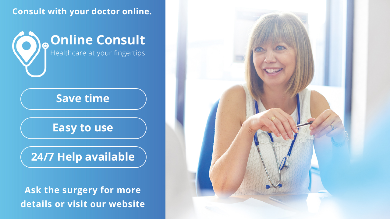 Online Consultation banner linked to website